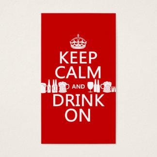 Cartes De Visite Gardez le calme et buvez sur (les couleurs