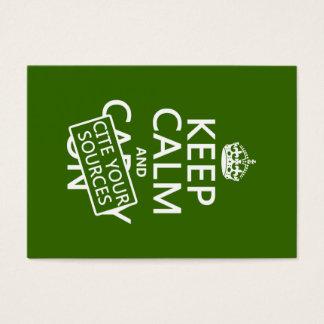 Cartes De Visite Gardez le calme et citez vos sources (dans toute