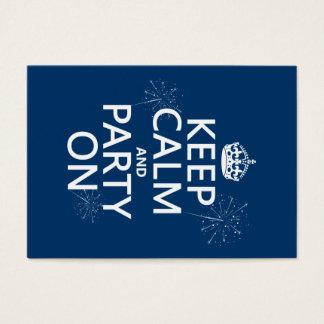 Cartes De Visite Gardez le calme et la partie dessus - toutes les
