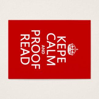 Cartes De Visite Gardez le calme et le corrigez sur épreuves (le