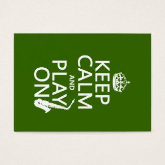Cartes De Visite Gardez le calme et le jeu sur (saxophone) (toute