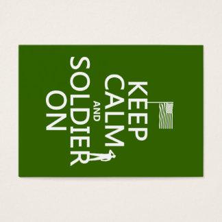 Cartes De Visite Gardez le calme et le soldat sur (drapeau des USA)