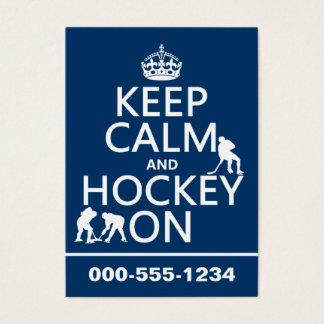 Cartes De Visite Gardez le calme et l'hockey sur (dans toute