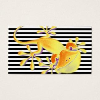 Cartes De Visite Gecko de sourire sur les rayures noires + votre