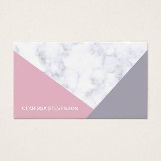 Cartes De Visite géométrique pourpre de marbre blanc élégant de