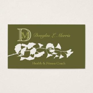 Cartes De Visite Ginkgo biloba décoré d'un monogramme