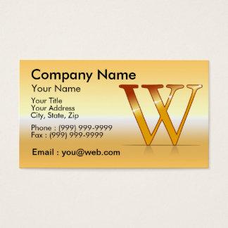 """Cartes De Visite gold lettre """"W"""""""