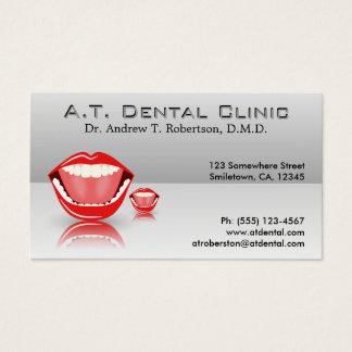 Cartes De Visite Grand dentiste professionnel de gris argenté de