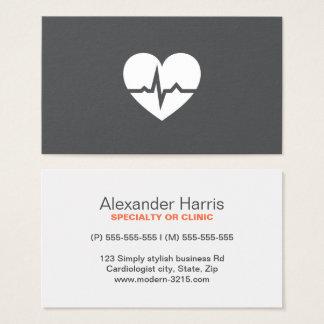 Cartes De Visite Gris élégant de cardiologue de coeur moderne de