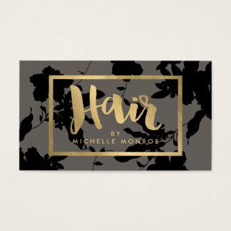 Cartes De Visite Gris floral noir de coiffeur des textes d'or