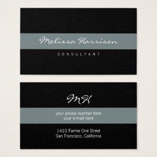 Cartes De Visite gris rayé de noir professionnel simple et de base