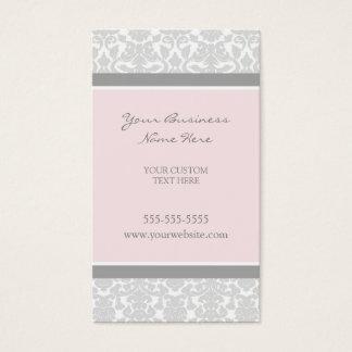 Cartes de visite gris roses élégants de damassé