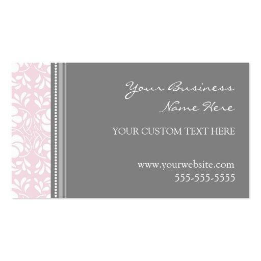 Cartes de visite gris roses élégants de damassé cartes de visite personnelles