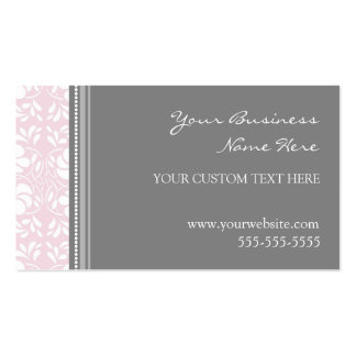 Cartes de visite gris roses élégants de damassé carte de visite standard