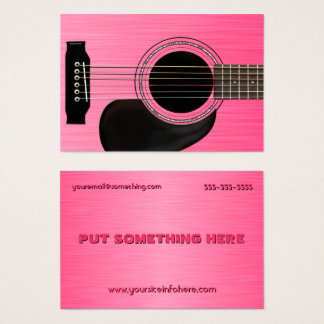 Cartes De Visite Guitare acoustique rose