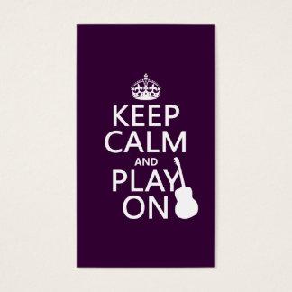 Cartes De Visite Guitare - gardez le calme et le jeu sur (chaque