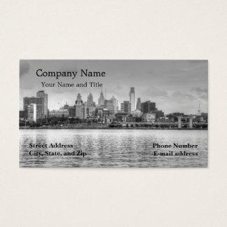 Cartes De Visite Horizon de Philadelphie en noir et blanc