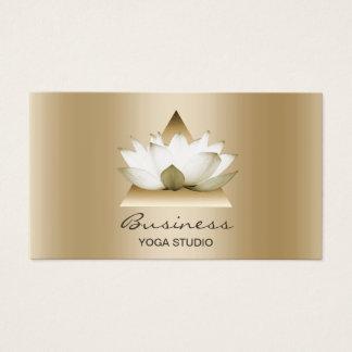 Cartes De Visite Horizontal élégant de Lotus d'or moderne de studio