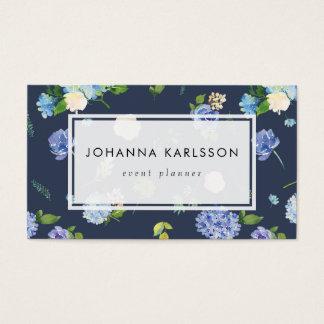 Cartes De Visite Hortensias et pivoines bleus d'aquarelle