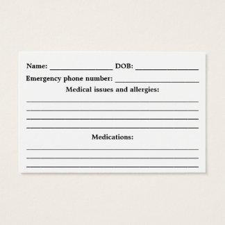 Cartes De Visite Identification médicale d'alerte - personnalisable