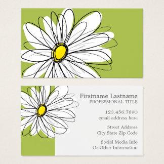 Cartes De Visite Illustration florale de marguerite à la mode -