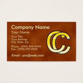 Cartes De Visite initiales  C et C en or sur fond de cuir