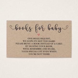 Cartes De Visite Insertion rustique de baby shower de la demande |