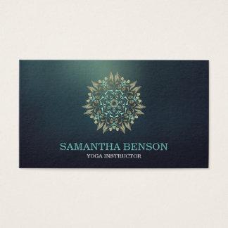 Cartes De Visite Instructeur élégant de yoga de Lotus de bleu et