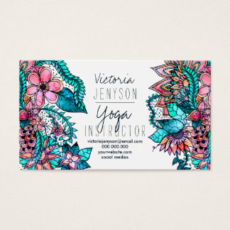 Cartes De Visite Instructeur floral de yoga d'illustration
