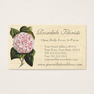 Cartes De Visite Jardinier ou fleuriste vintage élégant de camélia