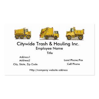 Cartes de visite jaunes de camion à ordures carte de visite