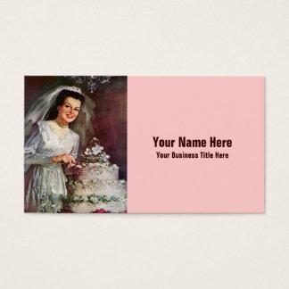 Cartes De Visite Jeune mariée vintage et son gâteau de mariage -