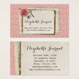 Cartes De Visite Journal victorien rose chic minable rustique de