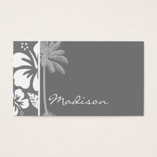 Cartes De Visite Ketmie tropicale hawaïenne grise ; Paume d'été