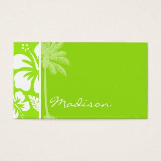 Cartes De Visite Ketmie tropicale hawaïenne Vert-Jaune ; Paume