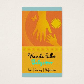 Cartes De Visite La babysitter remet jaune-orange