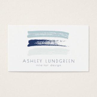 Cartes De Visite La brosse bleue d'aquarelle frotte moderne