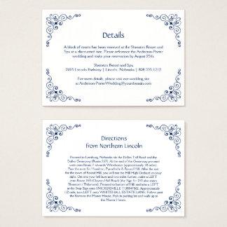 Cartes De Visite La clôture fleurie de détail de remous de bleu