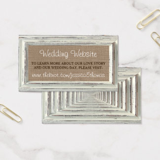 Cartes De Visite La collection blanche rustique de mariage de cadre