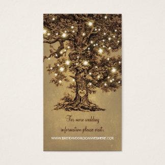 Cartes De Visite La ficelle rustique allume le mariage d'arbre
