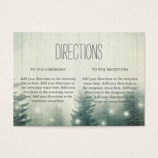 Cartes De Visite La forêt allume des directions rustiques de