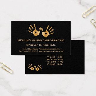 Cartes De Visite La main d'or imprime le chiroprakteur d'heures de