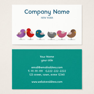 Cartes De Visite La mode d'anniversaire de Cartoon Birds Company