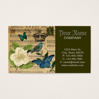 Cartes De Visite la musique vintage d'oiseau de couronne note