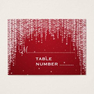 Cartes De Visite La nuit de Placecards de mariage brillent le rouge