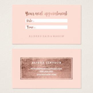 Cartes De Visite La typographie rose d'or de faux chic rougissent