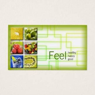 Cartes De Visite La vie saine de carré de vert jaune/carte de