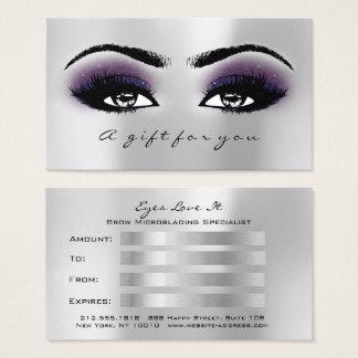 Cartes De Visite La violette argentée grise de certificat-prime