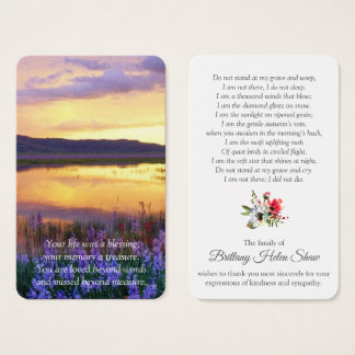 Cartes De Visite Lac floral funèbre commémoratif card   de prière