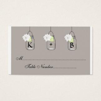 Cartes De Visite L'allocation des places de mariage de pot de maçon